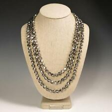 "72"" Faceted Metallic Silver Crystals Beaded Extra Long Strand Necklace Elegant"