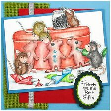 Gingerbread Mice HOUSE MOUSE Wood Mounted Rubber Stamp STAMPENDOUS, NEW - HMR75