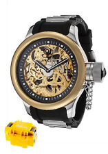 Invicta Mens Russian Diver Skeleton Gold Silver with Black Poly Band Watch 1088A