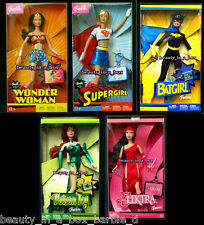 Wonder Woman Barbie Doll Batgirl Supergirl Poison Ivy Elektra Super Hero Lot 5 G