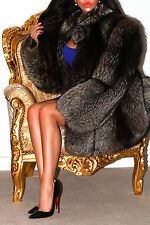 FABULOUS SILVER SAGA FOX REAL FUR COAT SHORT JACKET TOP QUALITY L WONDERFUL!