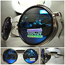 New VINTAGE RETRO 60's STEAMPUNK CYBER Round Blinder SUN GLASSES Blue Revo Lens