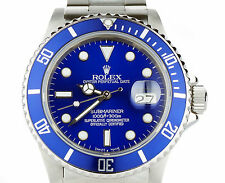 Rolex Submariner 16610 CUSTOM BLUE Bezel & Dial Stainless Steel Mens Dive Watch