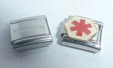 MEDICAL ALERT SIGN Italian Charm + 1x Genuine Nomination Classic Link RED STAR