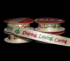 "24 Feet Christmas Sharing Loving Caring Scrapbook Satin Ribbon 3/8""W"