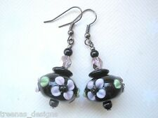 *CHUNKY BLACK PINK GREEN FLOWER LAMPWORK GLASS BEAD* GUNMETAL Drop Earrings Gift