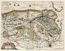 MAP ANTIQUE 1664 BLAEU BRUGES LIBERTY HISTORIC LARGE REPRO POSTER PRINT PAM0161