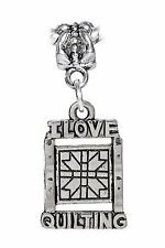 I Love Quilting Craft Quilter Dangle Bead fits Silver European Charm Bracelets
