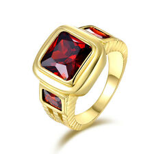 Classic Bridal Size 12 Garnet 18K Gold Filled Fashion Anniversary Ring For Men's