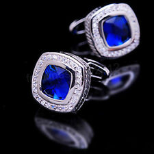 Royal Blue Crystal Silver Square Mens Wedding Party shirt cufflinks cuff links