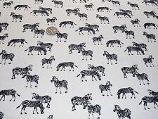 Ligero crepé Zebra Print-Blanco/Negro-Vestido Tela Libre P&P