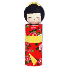"Japanese 6""H Washi Paper Ningyo Red Floral Kimono Kokeshi Doll, Made in Japan"