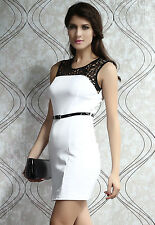 Simple Style Minimalist Lacy Neck Short Dress White