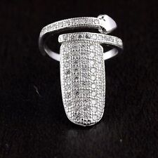 Womens Solid 925 Sterling Silver CZ Micro Pave Nail Ring Adjustable Heart
