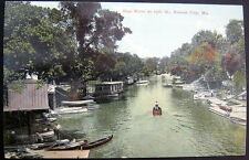 KANSAS CITY MO~1900's  BLUE RIVER AT 15TH STREET ~ BOAT HOUSE ~ CANOES FOR RENT