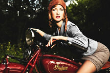 Pin-Up Cute Girl Indian Scout Old Retro Motorcycle Bike Motorbike Poster 24x36