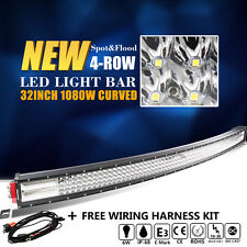 CREE 8D 32INCH 1080W CURVED QUAD ROW LED LIGHT BAR SPOT FLOOD COMBO OFFROAD SUV