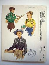 1950's Western boy's shirt transfers for yoke  pattern 1614 size 4  uncut