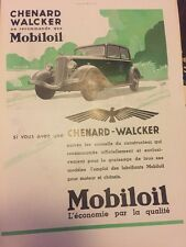 Vintage Advertising Chenard Walcker Mobil Oil French 1930s Original Print Ad