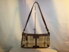 AUTHENTIC BURBERRY SMALL CHECK CANVAS AND LEATHER WITH KNIGHT LOGO SHOULDER BAG