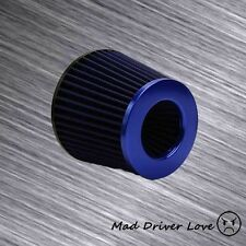 "3"" INLET SHORT RAM COLD AIR INTAKE ROUND CONE AIR FILTER BLUE W/2.5"" REDUCER"