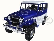 1955 WILLYS JEEP STATION WAGON BLUE 1/18 DIECAST MODEL BY ROAD SIGNATURE 92858