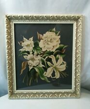 Vtg Turner Airbrush Cottage White rose lily Mag flower chic framed picture print