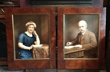 ANTIQUE EDWARDIAN PORTRAITS PHOTOS WITH OVER PAINTING OF A HUSBAND & WIFE
