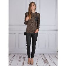 Michael Kors Women's Leopard Jumper With Leather Pocket Size XS