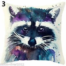 RACCOON Red PANDA WaterColour Painting LINEN-COTTON Canvas CUSHION Cover GB Sale