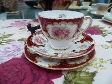 Inglés bastante Vintage collingwoods China trío Taza De Té Platillo Chelsea Red Floral