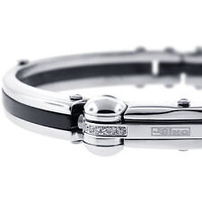 Mens Diamond Bangle Bracelet JoJino Stainless Steel Ceramic 0.12 ct 8 Inches