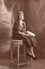BE152 Carte Photo vintage card RPPC Femme woman folklore musique robe dress