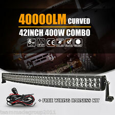 "4D++ CREE 42INCH 400W CURVED LED WORK LIGHT BAR SPOT FLOOD COMBO SUV UTE 40"" 32"""