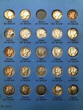 1916 to 1945 Mercury Head Dime Collection. 76 of 77 Coins.
