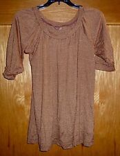 MICHAEL STARS - SPARKLY BRONZE-TONE SS KNIT TOP -  MISSES OS