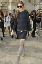 BNWT ZARA TARTAN PLAID NAVY BLUE CHECK DRESS ZIPS SIZE LARGE OLIVIA PALERMO