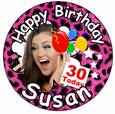 PINK LEOPARD PRINT - BIG BIRTHDAY PERSONALISED BADGE, AGE, NAME, PHOTO - NEW