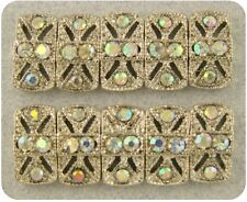 Beads Marcasite Tablets Aurora Borealis Swarovski Crystal Elements 2 Hole QTY 10