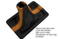 ORANGE & BLACK FITS FORD MUSTANG 2005-2009 REAL LEATHER SHIFT BOOT ONLY TWO TONE