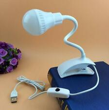 Clip Mini Desk Lamp Flexible Reading Book USB Beside LED Light Bed Clip-on