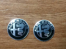 Set of 2pcs  BLACK Alfa Romeo Key fob 15mm/12mm emblem badge logo insignia