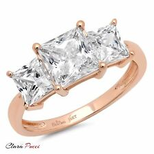 3.0 CT Three Stone Princess Cut Ring Engagement Wedding Band 14K Rose Gold