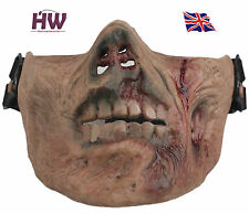 AIRSOFT ZOMBIE HALF FACE MASK APOCALYPSE HORROR FANCY DRESS TAN DESIGN