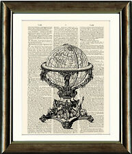 Old Antique Book page Art Print - World Globe Dictionary Book page Wall Art