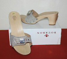 SCHOLL UK 5 EU 38 WOODEN HIGH HEEL LADIES EXERCISE MULES GYPSY HIPPY BOHO STYLE