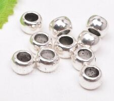 50pcs Tibetan silver loose simple big hole bead loose spacer beads 6x4mm B3182