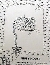 "Vtg Mouse Craft Pattern Sweet HOme Designs Missy Mice 3.5"" soft sculpture"