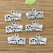 16pcs tibetan silver tone I LOVE KNITTING charms EF2236