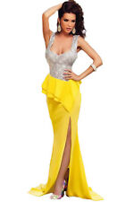 New Yellow & Silver Sequin Long Prom Evening Cocktail Dress Size M UK 10-12